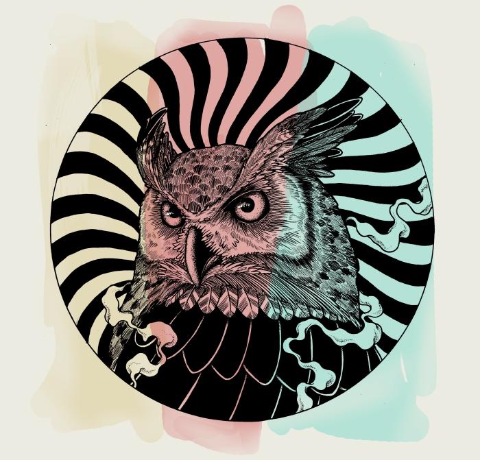 owl psychadelica pin