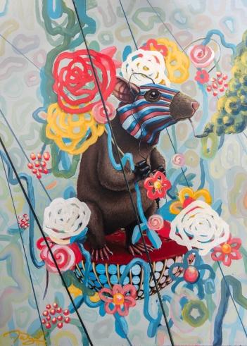 """""""Rat race"""" 18""""x24"""" acrylic on panel, Framed"""